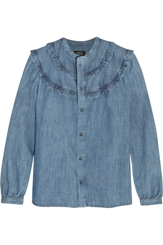 A.P.C. Atelier de Production et de Création Stevy ruffle-trimmed cotton-chambray shirt
