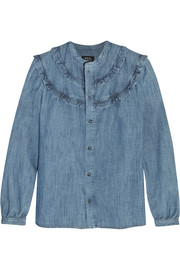 Stevy ruffle-trimmed cotton-chambray shirt