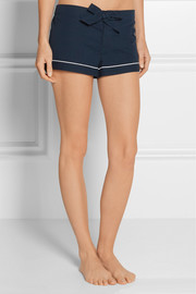 Seersucker cotton pajama shorts