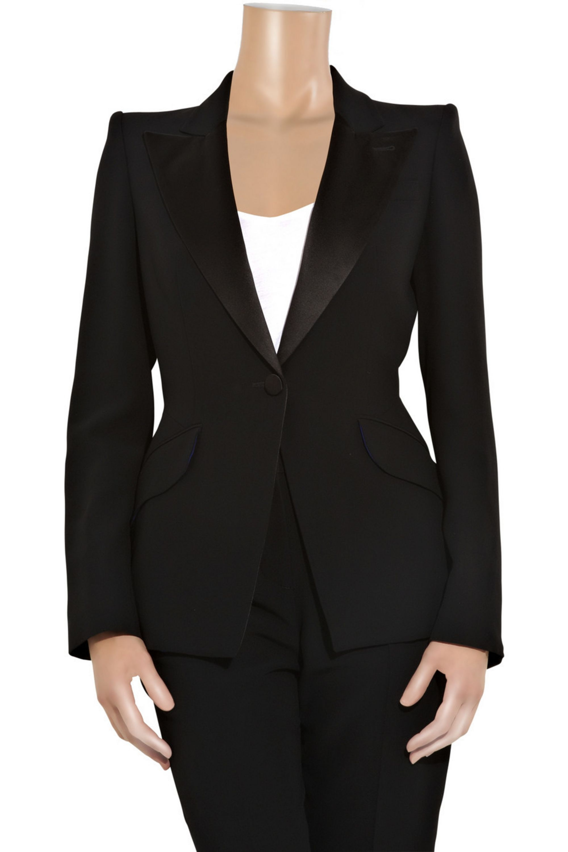 Alexander McQueen Leaf tailored crepe tuxedo jacket