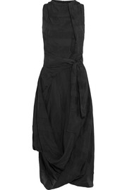 Eight asymmetric striped taffeta dress