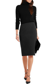 Stretch-cotton piqué pencil skirt