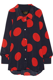 Vivienne Westwood Anglomania Oversized polka-dot crepe de chine blouse