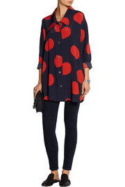 Oversized polka-dot crepe de chine blouse