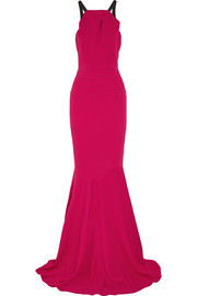 Levitha grosgrain-trimmed stretch-crepe gown