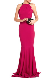 Roland Mouret Levitha grosgrain-trimmed stretch-crepe gown