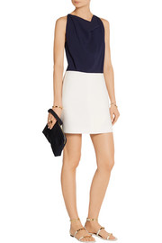 Roland Mouret Billingham crepe and herringbone cotton-blend mini dress