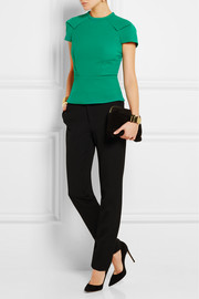 Cymatia paneled stretch-crepe top