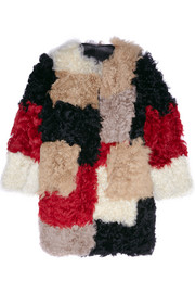Marni Color-block shearling coat