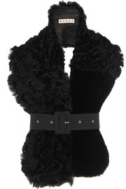 Belted leather and shearling scarf
