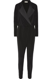 Bonnia silk-trimmed stretch-crepe jumpsuit