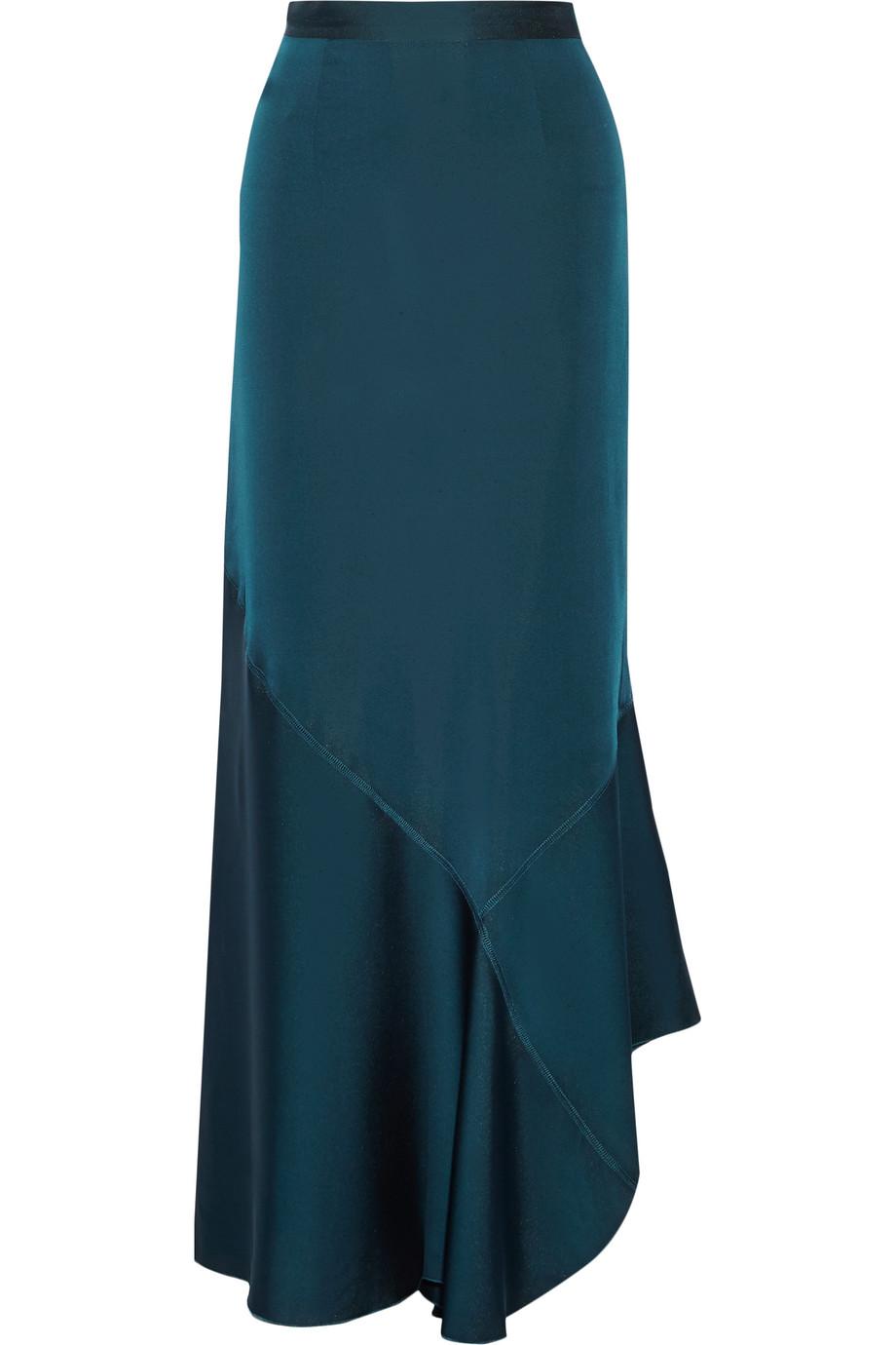 Zalah Stretch-Satin Jersey Maxi Skirt, By Malene Birger, Petrol, Women's, Size: 32