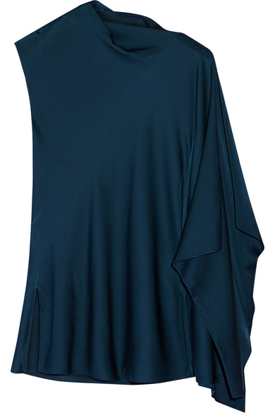 By Malene Birger - Annica Asymmetric Stretch-silk Top - Petrol