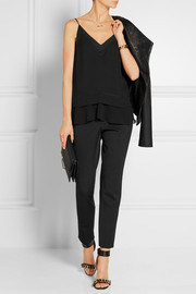 By Malene Birger Cara chiffon-trimmed crepe de chine top