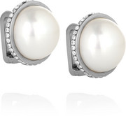 Eugenia silver-tone, faux pearl and crystal ear cuffs