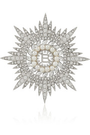 Maria Cristina silver-tone, crystal and faux pearl brooch
