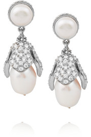 Eugenia silver-tone, faux pearl and crystal clip earrings