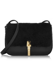 Cynnie Nano shearling and textured-leather shoulder bag