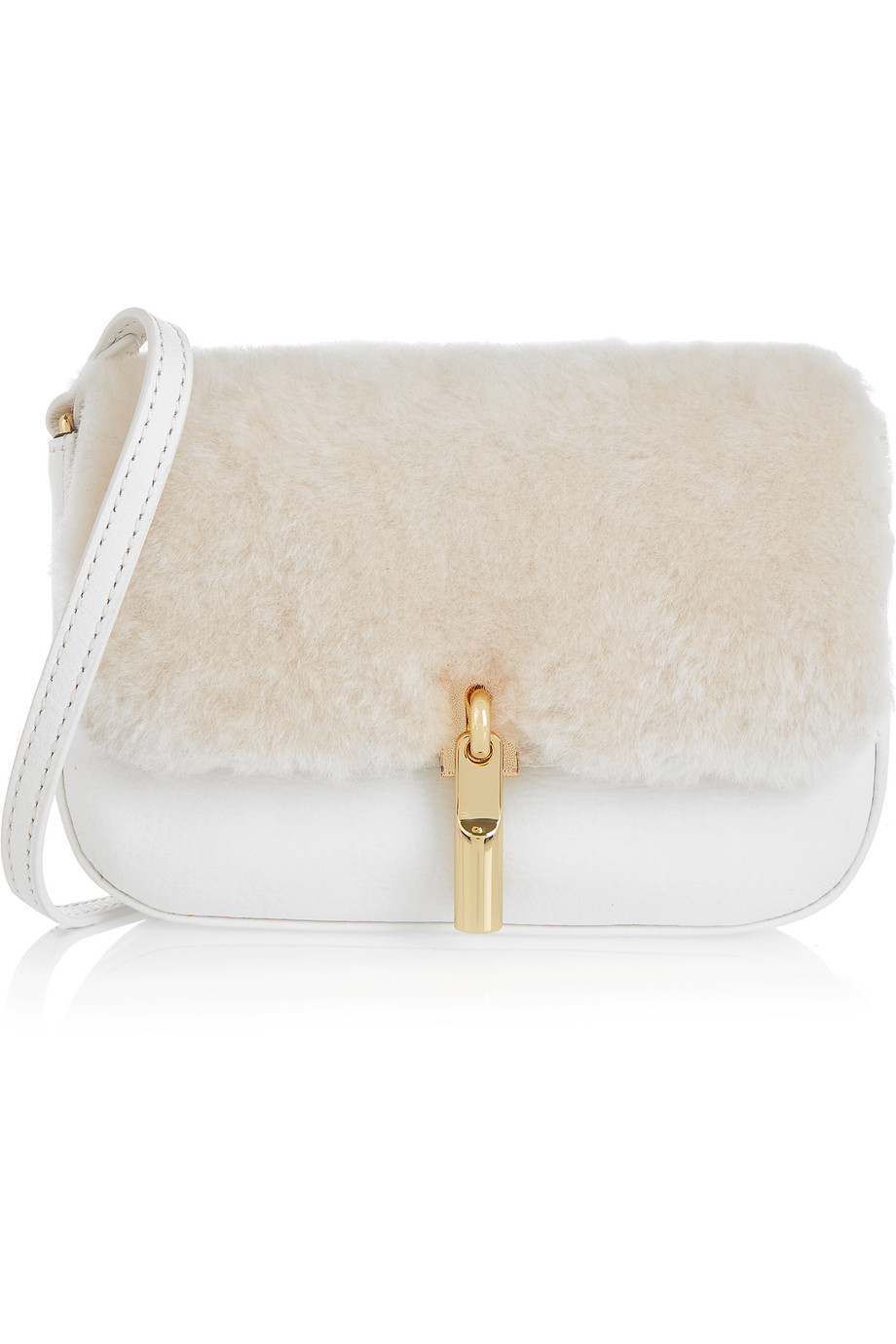 Elizabeth and James Cynnie Nano Shearling and Textured-Leather Shoulder Bag, White, Women's, Size: One Size