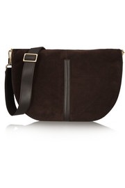 Elizabeth and James Scott Moon leather-trimmed suede shoulder bag