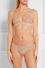 Stella McCartney Meg Alluring stretch-lace, Swiss-dot jersey and mesh thong
