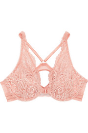 Stella McCartney Isabel Floating corded lace and point d'esprit plunge bra