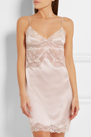 Stella McCartney Kate Kissing Leavers lace-paneled stretch-silk chemise