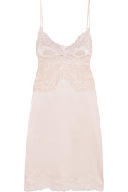 Kate Kissing Leavers lace-paneled stretch-silk chemise