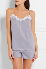 Stella McCartney Marie Skipping broderie anglaise-trimmed striped poplin camisole