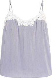 Marie Skipping broderie anglaise-trimmed striped poplin camisole