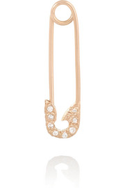 Safety Pin 18-karat rose gold diamond earring