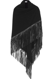 Barbajada Fringed leather and cashmere wrap