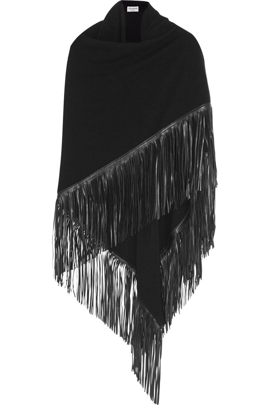 Fringed Leather and Cashmere Wrap, Black, Women's