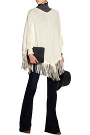 Barbajada Fringed leather and cashmere poncho