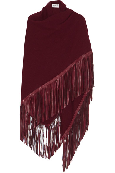Babjades - Fringed Leather And Cashmere Wrap - Burgundy