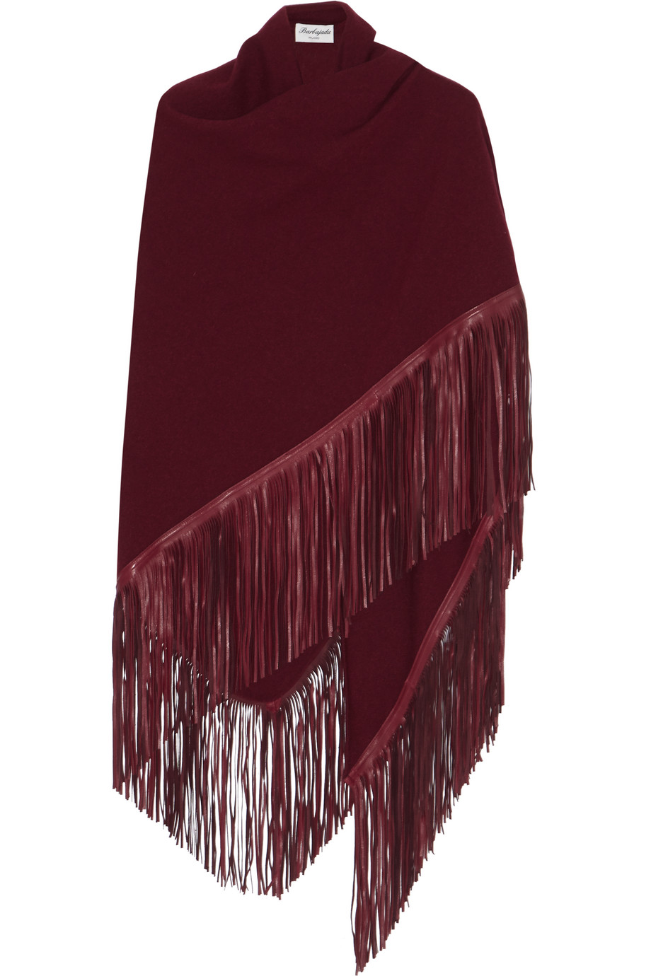 Fringed Leather and Cashmere Wrap, Burgundy, Women's