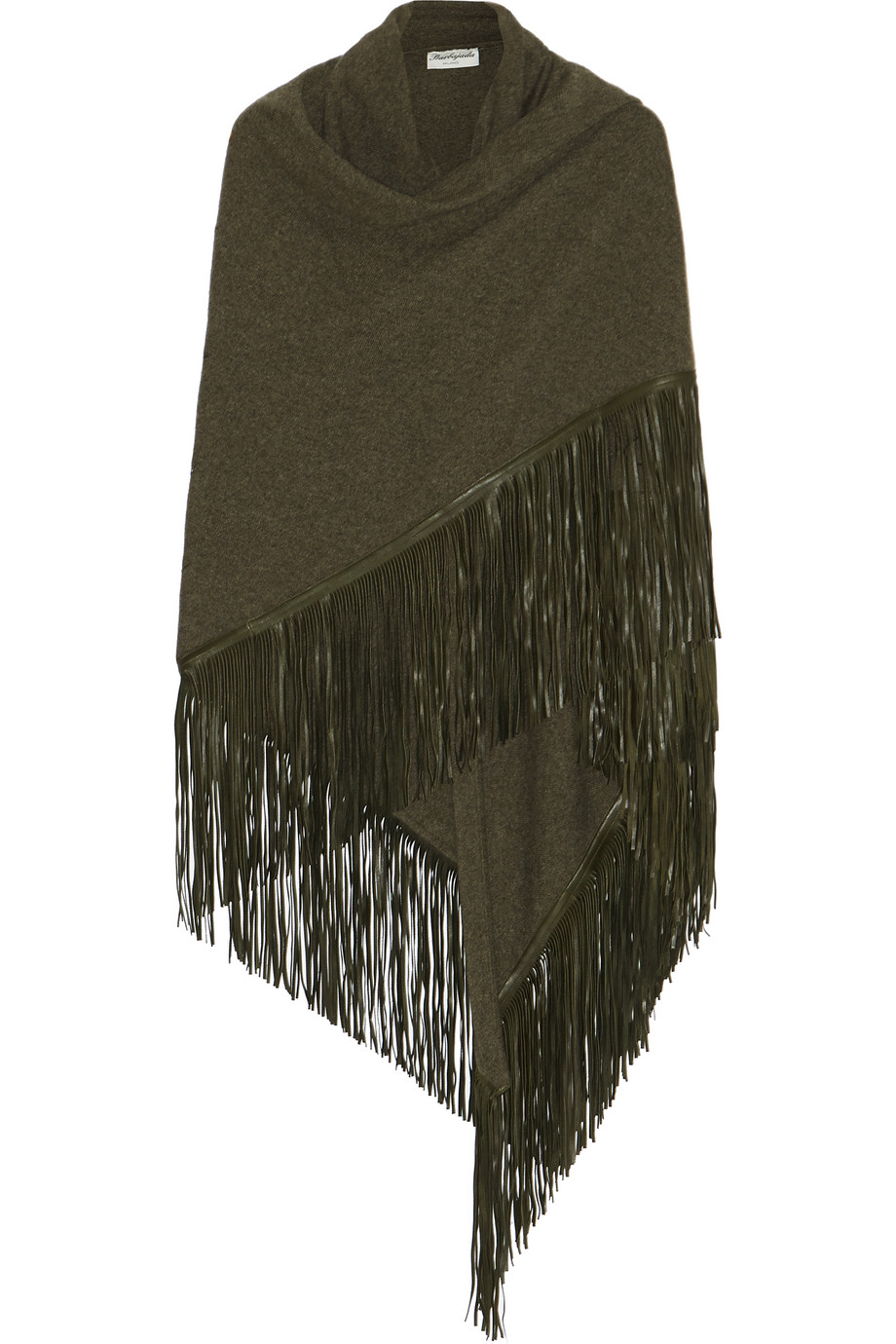 Fringed Leather and Cashmere Wrap, Army Green, Women's