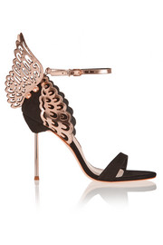Evangeline suede and laser-cut metallic leather sandals