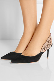 Sophia Webster Angelo cutout leather and suede slingback pumps