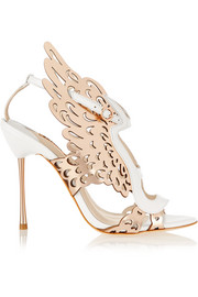 Parisa laser-cut metallic leather sandals
