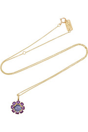 Lollipop 18-karat gold, lolite and amethyst necklace