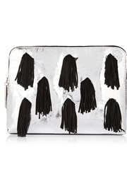 31 Minute suede-fringed metallic leather clutch