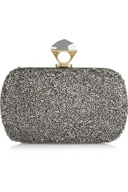Powerstone Minaudière crystal-embellished satin clutch