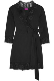 Jada lace-trimmed stretch-satin robe