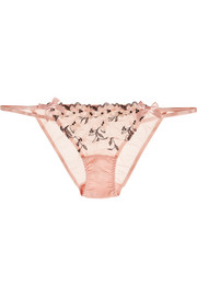 Kaity floral-appliquéd stretch-tulle briefs