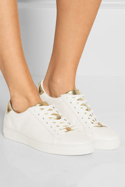 Irving metallic-paneled leather sneakers
