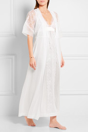 La Perla Merveille organza and Chantilly lace-trimmed voile robe