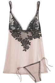 Privilege lace and stretch-tulle camisole and briefs set