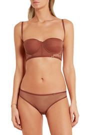 Eva multi-way stretch-tulle and Leavers lace balconette bra
