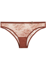 Eva stretch-tulle and Leavers lace briefs